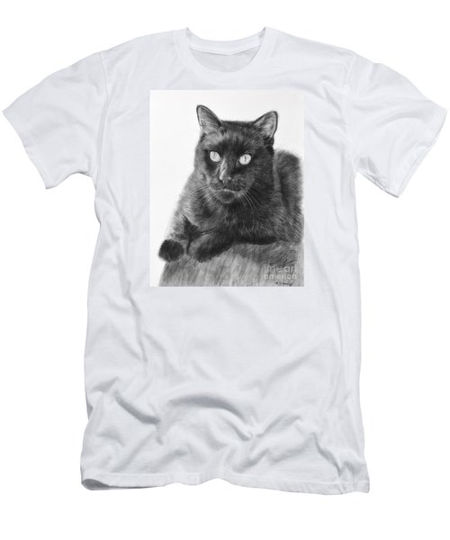 Black Cat Detailed Drawing Men's T-Shirt (Slim Fit) by Kate Sumners