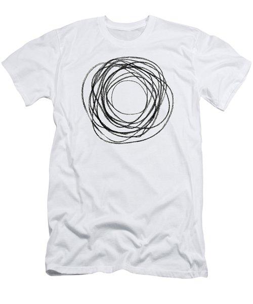 Black Doodle Circular Shape Men's T-Shirt (Slim Fit) by GoodMood Art