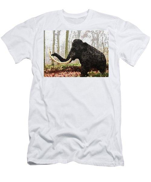 Men's T-Shirt (Athletic Fit) featuring the digital art Black Mammoth by PixBreak Art