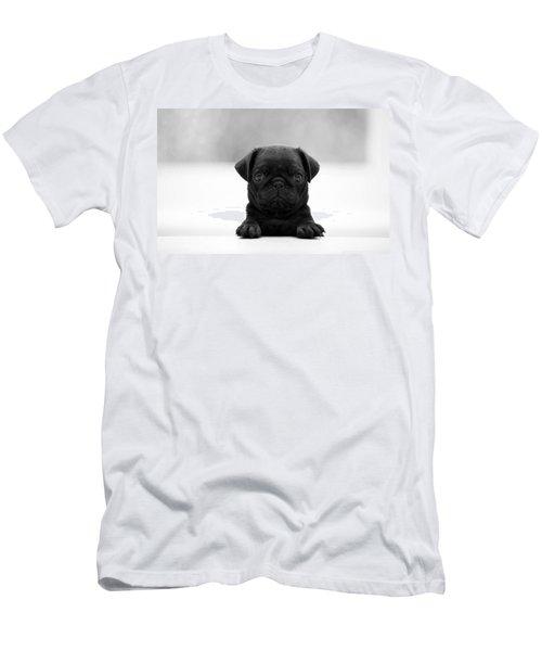 Black Pug Men's T-Shirt (Slim Fit) by Sumit Mehndiratta