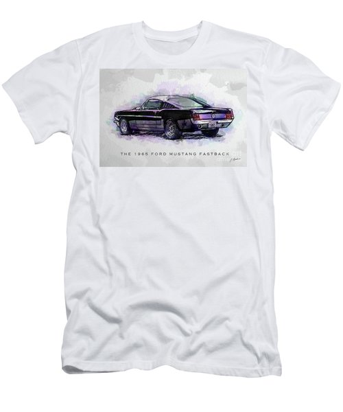 Black Stallion 1965 Ford Mustang Fastback Men's T-Shirt (Slim Fit)