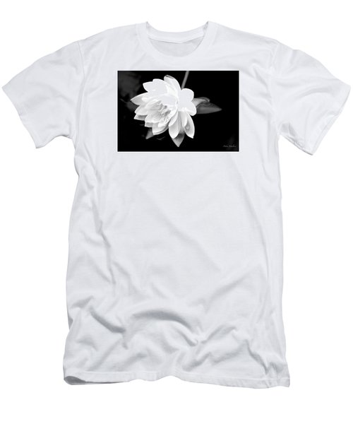 Men's T-Shirt (Slim Fit) featuring the photograph Black/white Lotus by Debra     Vatalaro