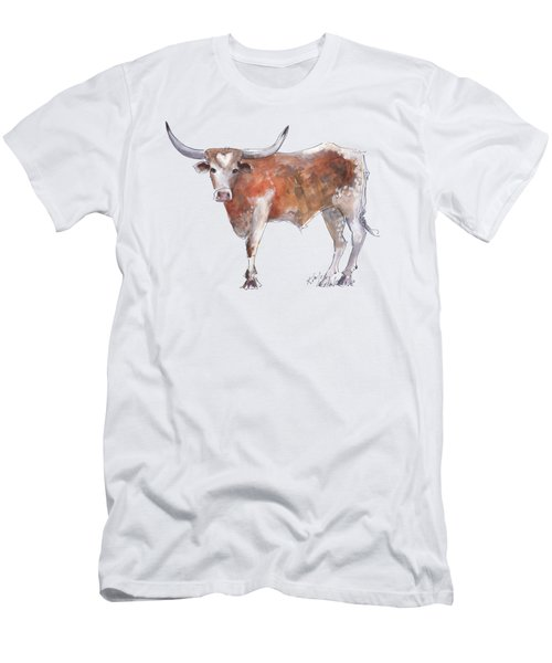 Bless Your Heart Of Texas Longhorn A Watercolor Longhorn Painting By Kathleen Mcelwaine Men's T-Shirt (Slim Fit) by Kathleen McElwaine