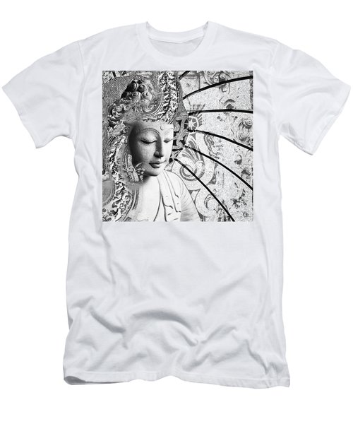 Men's T-Shirt (Athletic Fit) featuring the digital art Bliss Of Being - Black And White Buddha Art by Christopher Beikmann