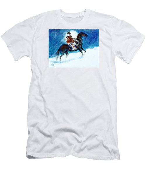 Men's T-Shirt (Slim Fit) featuring the painting Blizzard Moon-the Last Stray by Seth Weaver