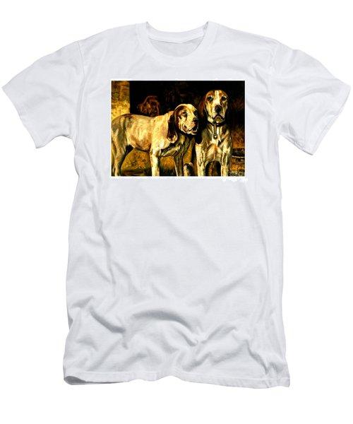 Men's T-Shirt (Athletic Fit) featuring the painting Bloodhounds Lou Ellen Chattin 1914 by Peter Gumaer Ogden