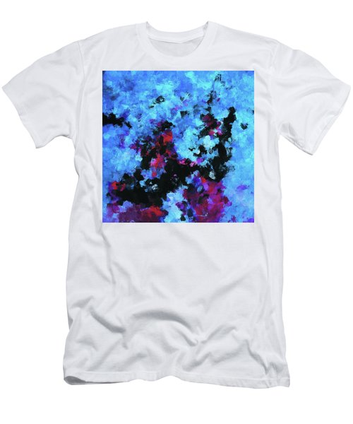Men's T-Shirt (Slim Fit) featuring the painting Blue And Black Abstract Wall Art by Ayse Deniz