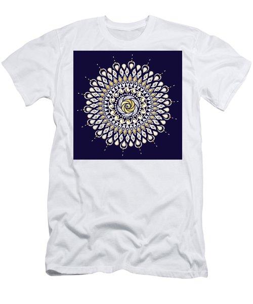 Blue And Gold Lens Mandala Men's T-Shirt (Slim Fit) by Deborah Smith
