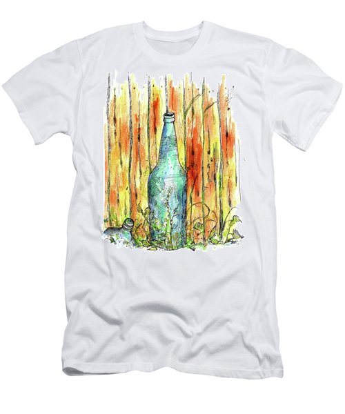 Men's T-Shirt (Slim Fit) featuring the painting Blue Bottle by Cathie Richardson