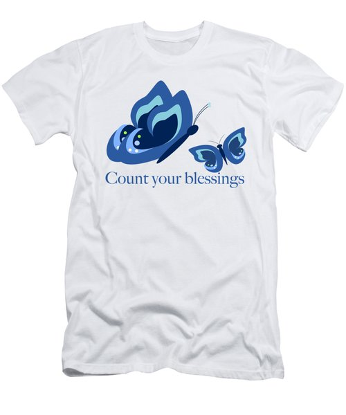 Blue Butterflies Count Your Blessings Men's T-Shirt (Athletic Fit)