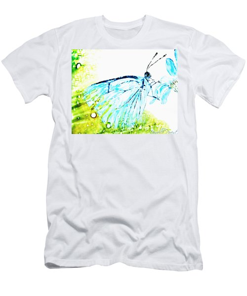 Blue Butterfly On Daisy Alcohol Inks Men's T-Shirt (Athletic Fit)