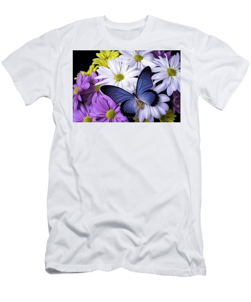 Blue Butterfly On Mixed Mums Men's T-Shirt (Athletic Fit)