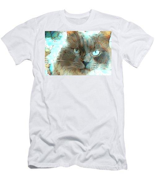 Blue Eyed Persian Cat Watercolor Men's T-Shirt (Athletic Fit)