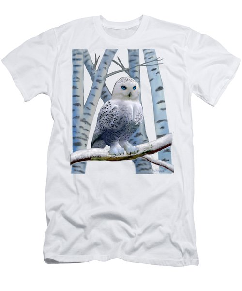 Blue-eyed Snow Owl Men's T-Shirt (Slim Fit) by Glenn Holbrook