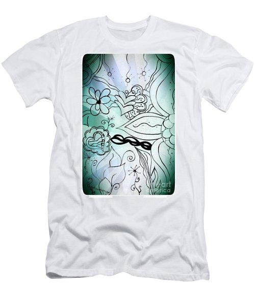 Blue Funky Flower Doodles Men's T-Shirt (Athletic Fit)