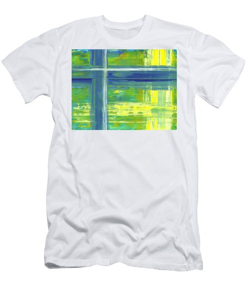 Blue Geometric Yellow Men's T-Shirt (Athletic Fit)