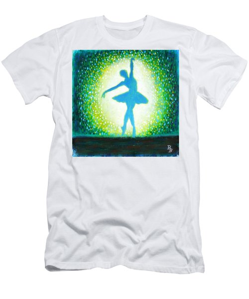 Men's T-Shirt (Athletic Fit) featuring the painting Blue-green Ballerina by Bob Baker