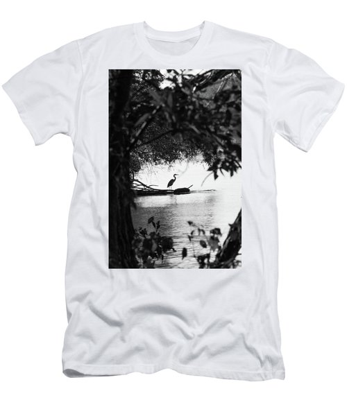 Blue Heron In Black And White. Men's T-Shirt (Athletic Fit)