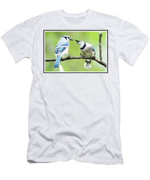 Blue Jay Parent Feeding Juvenile Men's T-Shirt (Slim Fit) by A Gurmankin