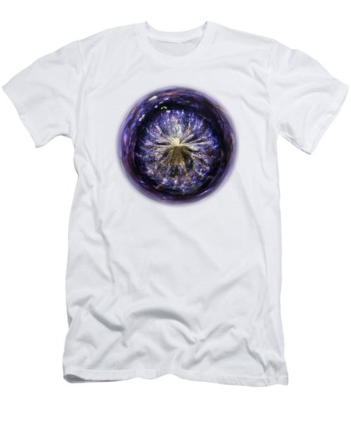 Blue Jelly Fish Orb On Transparent Background Men's T-Shirt (Slim Fit) by Terri Waters