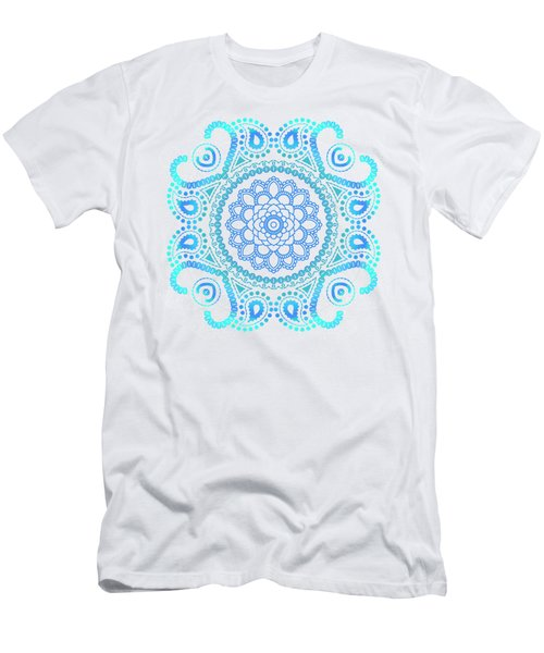 Men's T-Shirt (Slim Fit) featuring the painting Blue Lotus Mandala by Tammy Wetzel