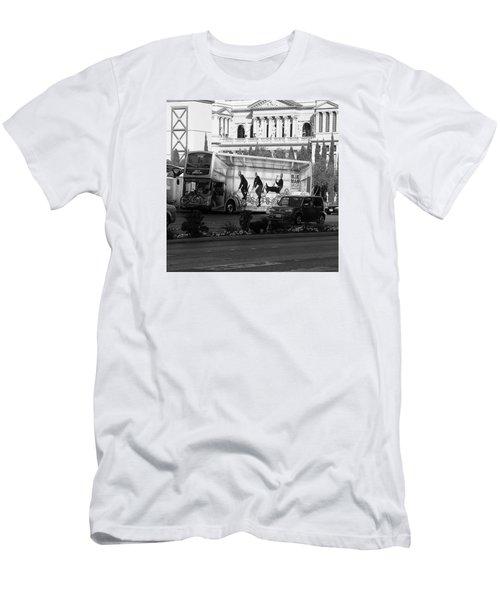 Blue Man Group On Bus Men's T-Shirt (Athletic Fit)