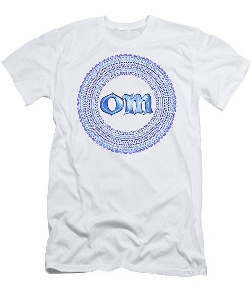 Men's T-Shirt (Slim Fit) featuring the painting Blue Om Mandala by Tammy Wetzel