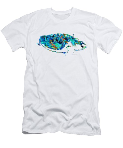Blue Sea Turtle By Sharon Cummings  Men's T-Shirt (Athletic Fit)