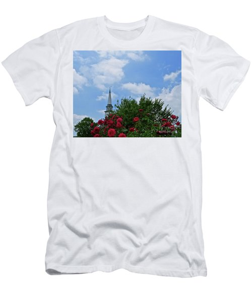 Blue Sky And Roses Men's T-Shirt (Slim Fit) by Nancy Patterson