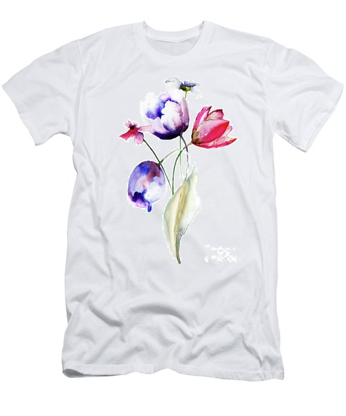 Blue Tulips Flowers With Wild Flowers Men's T-Shirt (Athletic Fit)