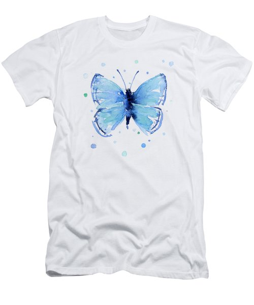 Blue Watercolor Butterfly Men's T-Shirt (Athletic Fit)