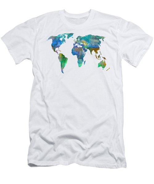 Blue World Transparent Map Men's T-Shirt (Athletic Fit)