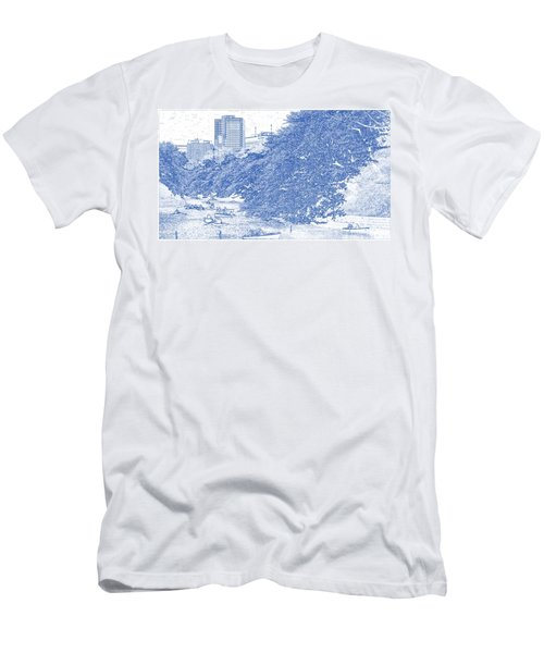 Blueprint Drawing Of Modern Building 12 Boat Cherry Blossom Park River Spring Tokyo Men's T-Shirt (Athletic Fit)