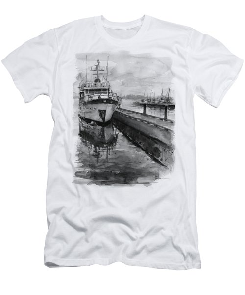 Boat On Waterfront Marina Kirkland Washington Men's T-Shirt (Slim Fit) by Olga Shvartsur