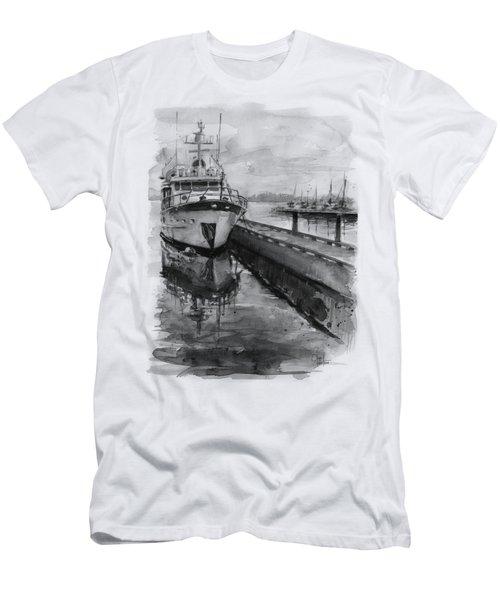 Boat On Waterfront Marina Kirkland Washington Men's T-Shirt (Athletic Fit)