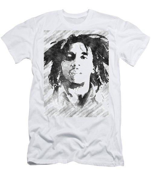 Bob Marley Bw Portrait Men's T-Shirt (Athletic Fit)