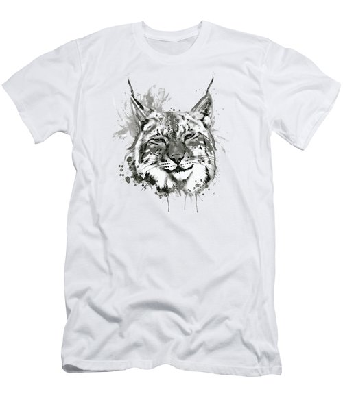 Bobcat Head Black And White Men's T-Shirt (Athletic Fit)
