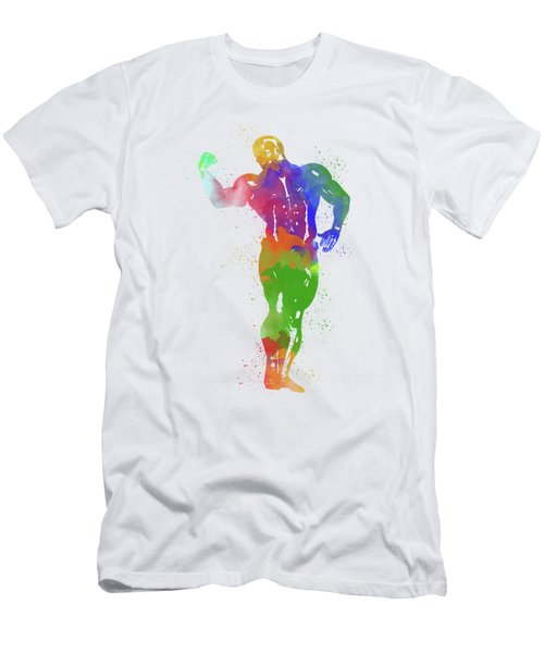 Bodybuilder Watercolor 1 Men's T-Shirt (Athletic Fit)