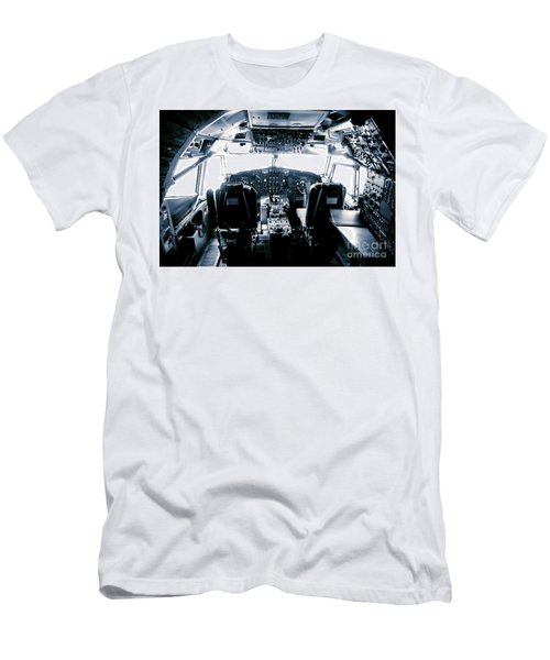 Men's T-Shirt (Slim Fit) featuring the photograph Boeing 747 Cockpit 22 by Micah May