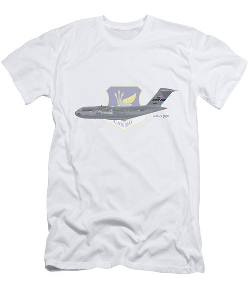 Men's T-Shirt (Slim Fit) featuring the digital art Boeing C-17 Globemaster IIi Mcguire Afb by Arthur Eggers