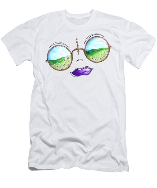 Boho Gypsy Daisy Field Sunglasses Reflection Design From The Aroon Melane 2014 Collection By Madart Men's T-Shirt (Slim Fit) by Megan Duncanson