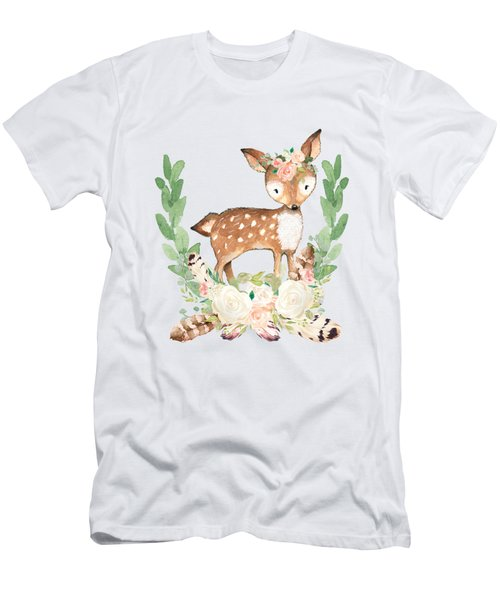 Boho Woodland Blush Dear With Feathers Men's T-Shirt (Athletic Fit)