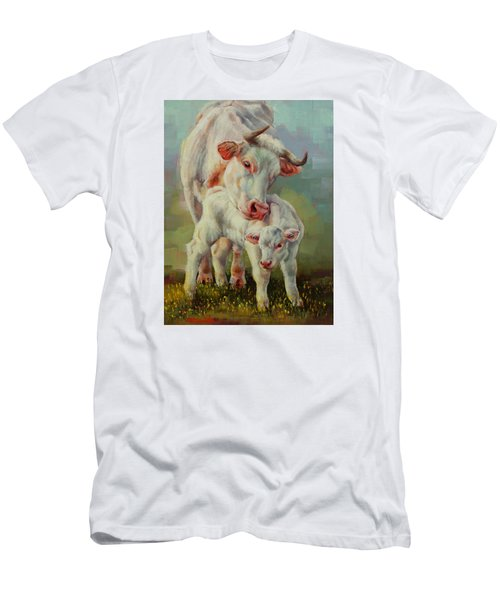 Men's T-Shirt (Slim Fit) featuring the painting Bonded Cow And Calf by Margaret Stockdale