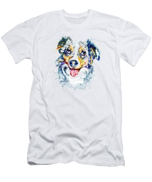 Men's T-Shirt (Slim Fit) featuring the mixed media Border Collie  by Marian Voicu