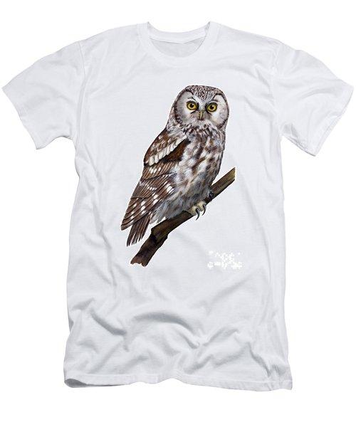 Boreal Owl Tengmalm's Owl Aegolius Funereus - Nyctale De Tengmalm - Paerluggla - Nationalpark Eifel Men's T-Shirt (Athletic Fit)
