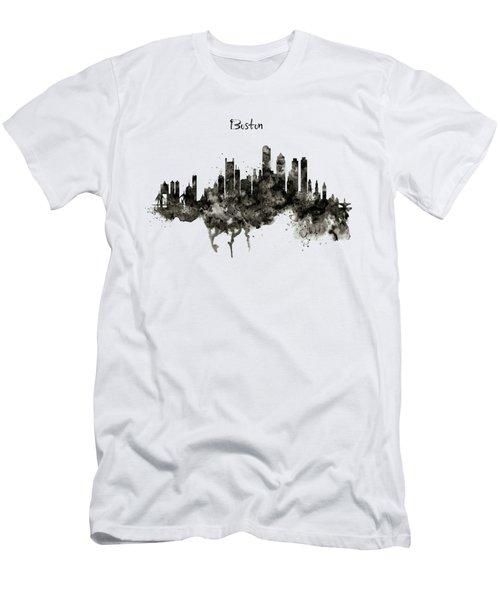 Boston Skyline Black And White Men's T-Shirt (Slim Fit) by Marian Voicu