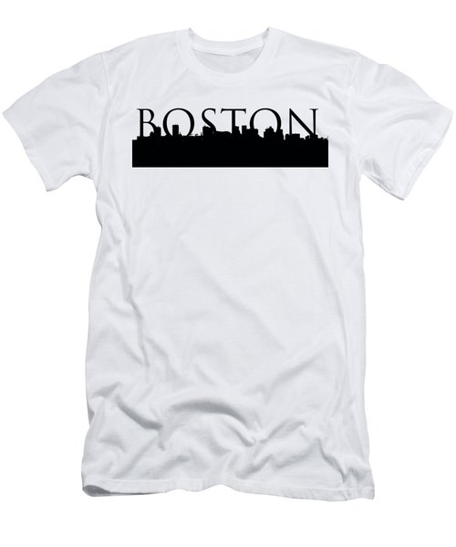 Boston Skyline Outline With Logo Men's T-Shirt (Slim Fit) by Joann Vitali