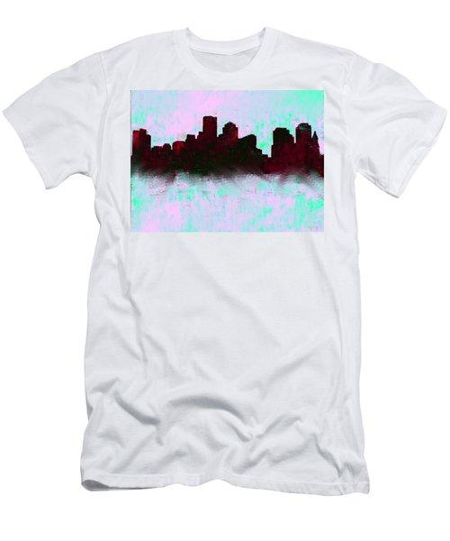 Boston Skyline Sky Blue  Men's T-Shirt (Athletic Fit)