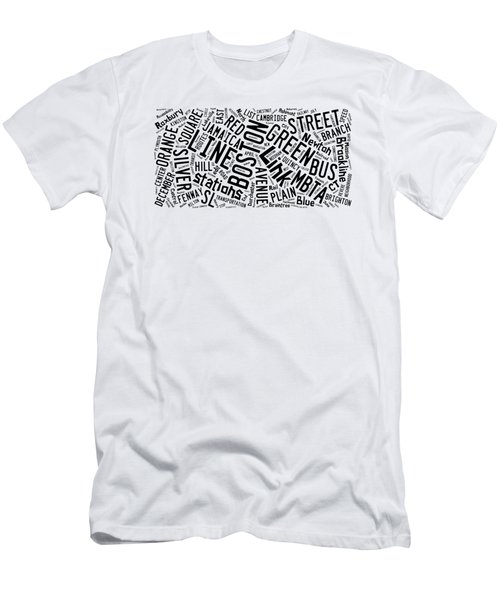 Boston Subway Or T Stops Word Cloud Men's T-Shirt (Athletic Fit)