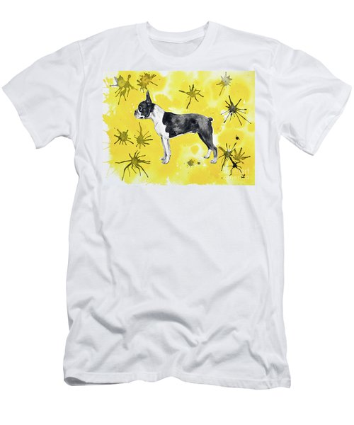 Men's T-Shirt (Athletic Fit) featuring the painting Boston Terrier On Yellow by Zaira Dzhaubaeva